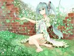 1girl absurdres aqua_hair barefoot bird brick_wall detached_sleeves dress feet green_eyes hatsune_miku headphones highres kagamine09 long_hair outstretched_arm sitting smile solo twintails very_long_hair vocaloid