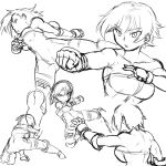1girl bare_shoulders breasts cleavage collage fighting_stance final_fantasy final_fantasy_tactics gloves kicking large_breasts monk_(fft) monochrome muscle punching short_hair solo tsukudani_(coke-buta) unitard