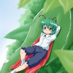 1girl antennae arms_behind_head blue_sky blurry cape depth_of_field dress_shirt green_eyes green_hair knee_up kneehighs leaf long_sleeves looking_away mary_janes reclining shirt shoes short_hair shorts sky smile solo touhou waribashi-p wriggle_nightbug