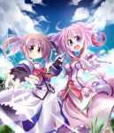 2girls :d ahoge animal_ears bare_shoulders bow breasts brown_hair clouds crossover dog_days dog_ears dress fingerless_gloves gloves grass holding_hands kazekawa_nagi lyrical_nanoha magical_girl mahou_shoujo_lyrical_nanoha millhiore_f_biscotti multiple_girls open_mouth pink_hair puffy_sleeves short_twintails sky smile tail takamachi_nanoha twintails violet_eyes