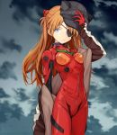 1girl animal_ears animal_hat black_hat blue_eyes cat_ears evangelion:_3.0_you_can_(not)_redo eyepatch fake_animal_ears hat highres kari_kenji light_brown_hair long_hair looking_to_the_side neon_genesis_evangelion plugsuit rebuild_of_evangelion solo souryuu_asuka_langley sweater very_long_hair