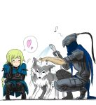 1boy 1girl armor artorias_the_abysswal blonde_hair braid cape closed_eyes dark_souls foam full_armor heart helm helmet lord's_blade_ciaran musical_note page8_(artist) smile spoken_heart water wolf