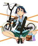 bicycle black_hair blue_eyes bottle bucket hair_ornament hairclip hoodie official_art sandals short_hair sitting skirt tokyo_jitensha_shoujo towel wadapen