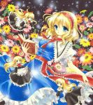 1girl airbrush_(medium) alice_margatroid blonde_hair blue_eyes book bow capelet dress flower frills hairband long_hair marker_(medium) ribbon sash shanghai_doll short_hair tegaki_no_yuu touhou traditional_media