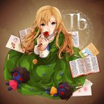 778-go blonde_hair book brown_background crayon doll dress flower green_eyes ib knife looking_at_viewer mary_(ib) palette_knife petals rose sketchbook