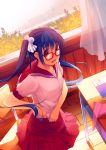 1girl :d abondz adjusting_clothes blue_hair curtains glasses hair_bobbles hair_ornament open_mouth school_uniform smile tagme teruterubouzu twintails violet_eyes window