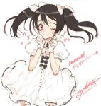 1girl black_hair bow dress gloves hair_bow hair_ribbon heart index_finger_raised long_hair looking_at_viewer love_live!_school_idol_project ooyari_ashito puffy_sleeves raised_finger red_eyes revision ribbon simple_background smile solo twintails white_background white_dress white_gloves white_ribbon wink yazawa_nico