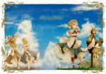 2girls alice_margatroid apron blonde_hair blue_dress blue_eyes blue_hair book boots bow capelet clouds dress female flower grass grave grimoire hair_bow hairband hand_in_hair hat hat_ribbon highres holding_hands hourai_doll kirisame_marisa long_hair multiple_girls petals ribbon running sash shanghai_doll short_hair shunsuke smile touhou wind wink witch_hat