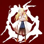 1girl arm_up blonde_hair blood bolt crossed_arms extra_arms franken_fran heart highres icemissile labcoat long_hair madaraki_fran pantyhose pointing scalpel solo stitches yellow_eyes