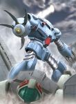 battle claws clouds damaged glowing glowing_eye gm_(mobile_suit) gm_cold_districts_type gundam gundam_0080 hiro_(hibikigaro) mecha mountain no_humans snow z'gok-e