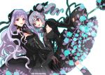 bow dress drill_hair gothic_lolita grey_hair hair_bow hair_ribbon idolmaster idolmaster_cinderella_girls kabkin kanzaki_ranko lolita_fashion lolita_hairband long_hair red_eyes ribbon shijou_takane twin_drills twintails