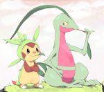 >:3 :3 chespin colona creature crossed_arms grovyle leaf lizard no_humans pokemon pokemon_(creature) pokemon_(game) pokemon_xy sitting standing stick