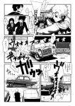 1girl 3boys a.hebmuller car comic driving monochrome motor_vehicle multiple_boys original sign steering_wheel taxi translation_request vehicle window