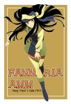 1girl 80s black_hair boots character_name dated fanneria_amu heavy_metal_l-gaim hime_cut honda_chieko light_smile long_hair magicwork-orange oldschool smile solo title_drop tsurime turban uniform