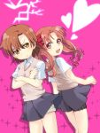 2girls back-to-back brown_eyes brown_hair long_hair misaka_mikoto moufu multiple_girls school_uniform shirai_kuroko short_hair shorts thigh_strap to_aru_kagaku_no_railgun to_aru_majutsu_no_index twintails