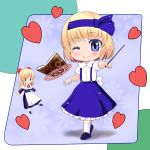 1girl aaaaaaaaaaw alice_margatroid alice_margatroid_(young) blonde_hair blush bookshelf bow capelet chibi flat_gaze hair_bow hair_ribbon heart long_hair magic_circle mary_janes ribbon shanghai_doll shoes short_hair single_character_focus skirt smile suspenders touhou wand wings