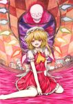 1girl ascot bare_legs character_doll checkered fangs flandre_scarlet full_moon hakurei_reimu hat hat_ribbon highres iroha_(nullpo) izayoi_sakuya moon open_mouth red_eyes red_moon remilia_scarlet ribbon siblings sisters skirt skirt_set smile solo touhou traditional_media window wings