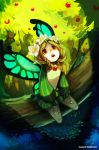 1girl :o blonde_hair butterfly_wings flower full_body hair_flower hair_ornament highres long_sleeves mercedes odin_sphere pointy_ears puffy_long_sleeves puffy_sleeves red_eyes signature sitting solo sushes vertical_stripes watermark web_address wings wreath