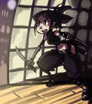 1girl alex_ahad ayame black_hair crop_top dual_wielding elbow_gloves gloves halter_top halterneck kodachi kote long_hair navel ninja ponytail reverse_grip short_sword slender_waist solo sword tenchu weapon