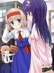2girls a_(aaaaaaaaaaw) alice_margatroid blonde_hair blue_dress blue_eyes bookshelf capelet crescent dress dress_shirt gift hair_ribbon hairband hat long_hair multiple_girls neckerchief no_hat no_headwear patchouli_knowledge police police_uniform purple_hair ribbon shanghai_doll shirt short_hair smile touhou translation_request uniform violet_eyes