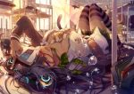 1girl bag between_breasts black_hair book breasts cat classroom desk digital_media_player engrish headphones itsuwa_(lethal-kemomimi) large_breasts long_hair lying on_back open_clothes open_mouth open_shirt original ranguage school_uniform skirt solo striped striped_legwear thigh-highs too_many_cats violet_eyes zettai_ryouiki