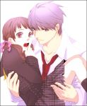 1boy 1girl adult brown_eyes brown_hair carrying chiru_(sanifani) doujima_nanako grey_hair hair_ribbon narukami_yuu necktie open_mouth persona persona_4 princess_carry ribbon school_uniform surprised teenage twintails