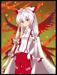 1girl border colored_eyelashes fujiwara_no_mokou hair_ribbon hands_in_pockets long_hair otng_(ten) red_eyes ribbon shirt silver_hair solo suspenders touhou tress_ribbon very_long_hair white_shirt wings
