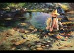1girl barefoot blonde_hair bovod feet_in_water grass hat holding_own_foot knees_up letterboxed long_sleeves moriya_suwako oil_painting_(medium) pond rock short_hair sitting soaking_feet solo touhou traditional_media vest water yellow_eyes