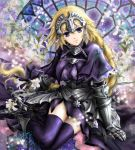 1girl armor armored_dress blonde_hair braid capelet dress fate/apocrypha fate/zero fate_(series) flower gauntlets headpiece lily_(flower) manbosakuranbo ruler_(fate/apocrypha) single_braid solo stained_glass thigh-highs violet_eyes