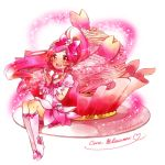 1girl blush boots character_name cure_blossom dress hair_ribbon hanasaki_tsubomi heartcatch_precure! kuzumochi long_hair magical_girl mont_blanc_(food) open_mouth pink_eyes pink_hair ponytail precure ribbon sitting smile solo