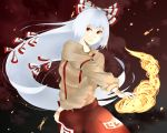 1girl arm_garter fire flame fujiwara_no_mokou hair_ribbon long_hair long_sleeves looking_away orange_eyes pose puffy_long_sleeves puffy_sleeves ribbon solo suspenders touhou tyesyaneko999 white_hair