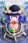 1girl blue_hair bow chibi food fruit hat hinanawi_tenshi keystone leaf long_hair mizuki_hitoshi open_mouth peach red_eyes ribbon rock shide skirt smile solo sword sword_of_hisou weapon
