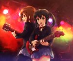 2girls back-to-back black_hair brown_eyes brown_hair electric_guitar guitar hirasawa_yui instrument k-on! long_hair lufein miniskirt multiple_girls nakano_azusa open_mouth pantyhose school_uniform short_hair skirt tapping twintails