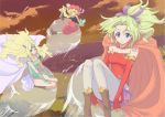 3girls bare_shoulders blonde_hair blue_eyes bow cape celes_chere detached_sleeves earrings final_fantasy final_fantasy_vi fingerless_gloves gloves green_hair hair_ornament hair_ribbon hat headband jack_(wkm74959) jewelry leotard long_hair multiple_girls pantyhose pauldrons relm_arrowny ribbon sash tina_branford