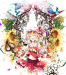 1girl ascot azumamutuki blonde_hair cat closed_eyes colorful dolphin flandre_scarlet flower highres laevatein open_mouth short_hair side_ponytail skirt skirt_set smile solo sunflower tokyo_tower touhou tree whale wings