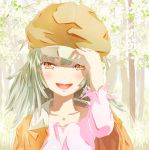 1girl bakemonogatari brown_eyes cabbie_hat green_hair hat monogatari_(series) nanatsuya open_mouth sengoku_nadeko short_hair