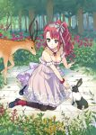 1girl absurdres breasts cleavage deer dress flower green_eyes gucchiann highres long_hair mary_janes original purple_hair rabbit ribbon rose shoes side_ponytail tree