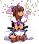 1girl ainu_clothes blue_eyes brown_hair flower gauntlets gloves hair_ribbon indian_style long_hair nakoruru pants ribbon samurai_spirits sash shirt sitting solo traditional_clothes umekichi v_arms