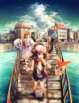 2girls blue_eyes bridge brown_eyes brown_hair character_request clouds deerling dress hat hat_removed headwear_removed lady_(pokemon) long_hair marill multiple_girls namie-kun pokemon pokemon_(game) pokemon_bw2 rufflet short_hair sky touko_(pokemon) touya_(pokemon) victini water