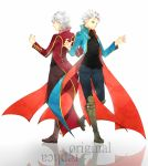 2boys blue_eyes blue_jacket boots devil_may_cry dual_persona haine_(howling) jacket long_coat multiple_boys palette_swap red_jacket short_hair vergil white_hair