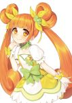 1girl bow chin_rest choker cure_rosetta dokidoki!_precure dress earrings flower hair_flower hair_ornament hair_ribbon heart jewelry long_hair magical_girl midorikawa_you mittens orange_eyes orange_hair pleated_skirt precure puffy_sleeves ribbon short_hair skirt smile solo twintails white_background wrist_cuffs yotsuba_alice