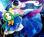 1girl bow breasts dress ghost_tail green_hair hat hat_bow long_hair mima red_eyes smkd2 solo staff star touhou wizard_hat