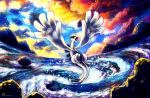 cloudy_sky flying glowing glowing_eyes haychel lugia no_humans open_mouth pokemon pokemon_(creature) pokemon_(game) pokemon_gsc sunset water whirlpool yellow_eyes