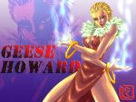 1girl bangle bare_legs blonde_hair blue_fire bracelet breasts cleavage dress earrings fatal_fury feather_boa fire geese_howard genderswap jewelry king_of_fighters lipstick makeup midnight_bliss nail_polish nikuji-kun red_dress short_hair side_slit slicked_back_hair solo thighs zoom_layer