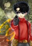 1boy absurdres aiming_at_viewer belt black_hair gun highres koromo_(ttksymk) metropolis pistol pouches rock_(metropolis) smile solo sunglasses suspenders weapon zoom_layer