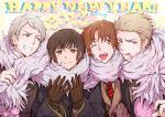 2013 4boys axis_powers_hetalia black_hair blonde_hair blue_eyes brown_eyes brown_hair germany_(hetalia) gloves happy_new_year japan_(hetalia) multiple_boys new_year northern_italy_(hetalia) open_mouth prussia_(hetalia) red_eyes short_hair silver_hair smile sweat wink