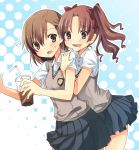 2girls brown_eyes brown_hair drink drooling kyabechi long_hair misaka_mikoto multiple_girls saliva school_uniform shirai_kuroko short_hair straw sweater_vest to_aru_kagaku_no_railgun to_aru_majutsu_no_index twintails