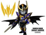 1boy armor belt character_name kamen_rider kamen_rider_knight kamen_rider_knight_survive kamen_rider_ryuki_(series) male maru_(pixiv587569) mask shield solo sword weapon