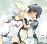2boys blush eye_contact hair_ornament hakuryuu_(inazuma_eleven) inazuma_eleven_(series) inazuma_eleven_go long_hair looking_at_another male mizuhara_aki multicolored_hair multiple_boys short_hair shuu_(inazuma_eleven) sitting smile soccer_uniform two-tone_hair yaoi zero_(inazuma_eleven)