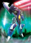 80s character_request decepticon energy_sword flying hiro_(hibikigaro) lightning looking_at_viewer mecha oldschool realistic robot science_fiction sword transformers weapon